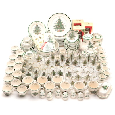 "Spode ""Christmas Tree"" Dinnerware, Serveware, and Other Porcelain Tableware"