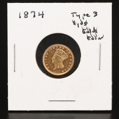 Low Mintage 1874 Indian Princess Head $1 Gold Coin