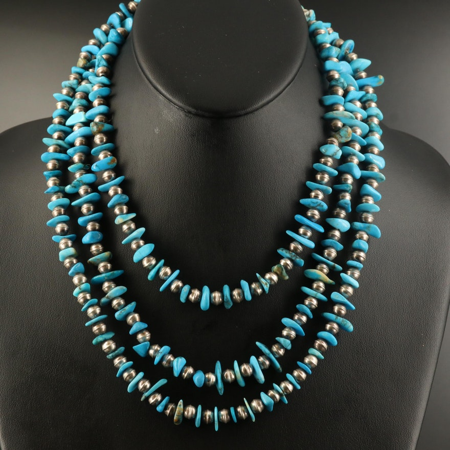 Sterling Howlite and Bench Bead Endless Necklace