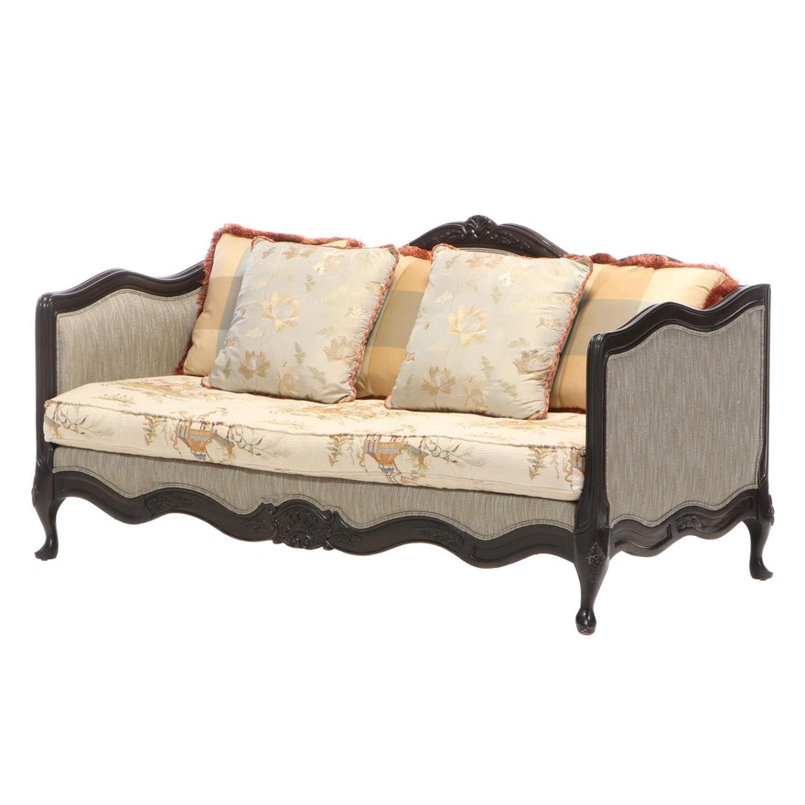 """Lillian August Louis XV Style """"Veronique"""" Dark Walnut-Stained Bench Seat Sofa"""