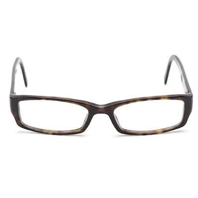 Prada Dark Brown Tortoise Rectangular Frame Eyeglasses