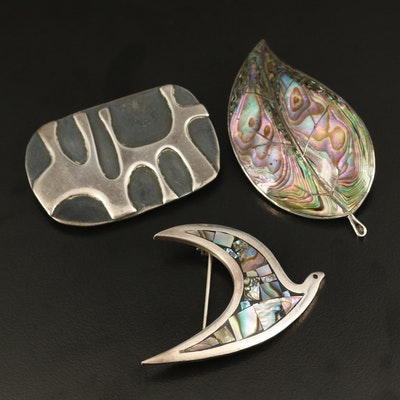 Sterling Freeform, Abalone Leaf and Bird Brooches
