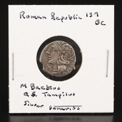 Roman Republic AR Denarius of Marcus Baebius Tampilus Rome, ca. 137 BC