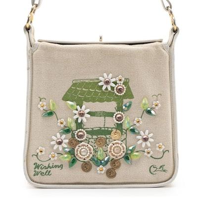 """Enid Collins """"Wishing Well"""" Embellished Canvas Shoulder Bag"""