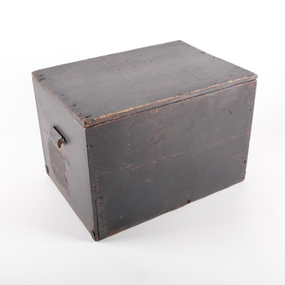 Primitive Painted Wood Dovetailed Storage Box with Cast Metal Handles