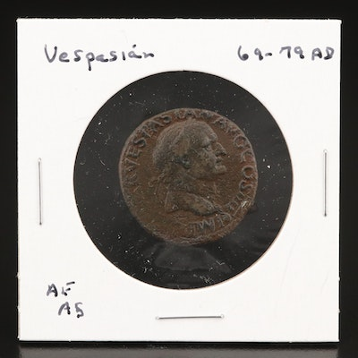 Ancient Roman Imperial AE Memorial Coin of Vespasian, ca. 80 AD