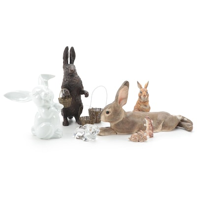 Glass, Ceramic, Porcelain, Metal and Bone China Rabbit Figurines, Late 20th C.