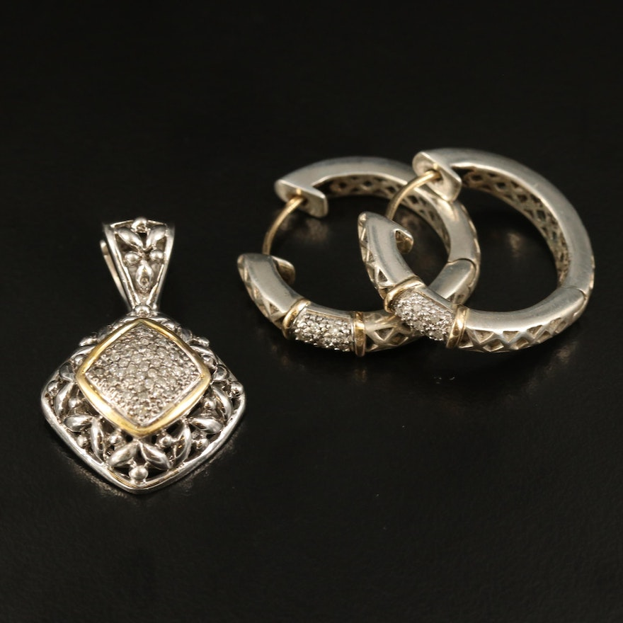 Sterling Diamond Hoop Earrings and Openwork Pendant with 14K Accents