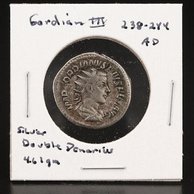 Ancient Roman Silver Double Denarius of Gordian III, 238–244 AD