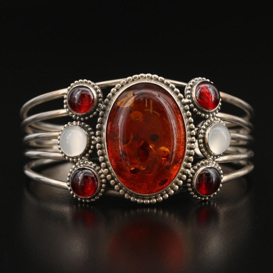 Sterling Moonstone and Amber Cuff
