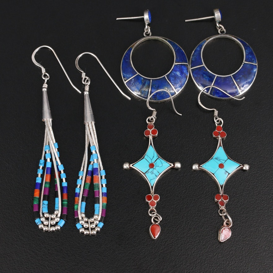 Sterling Lapis Lazuli, Turquoise and Gemstone Earrings
