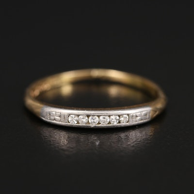 1940s 14K Diamond Band with Palladium Accent