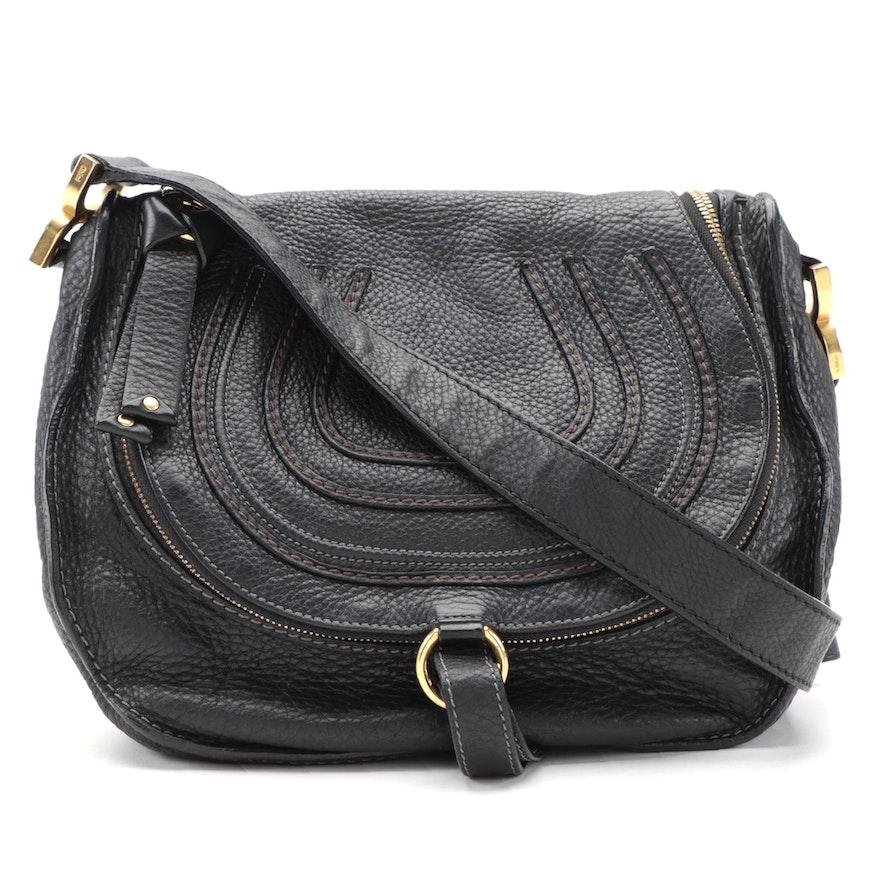 Chloé Marcie Black Pebble Grain Leather Crossbody Bag