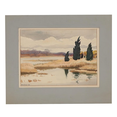 "Harvey K. Fuller Landscape Watercolor Painting ""Cedars at Quinebaug Cove,"" 1955"