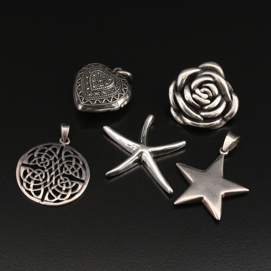 Sterling Pendants Featuring Marcasite Heart Pendant