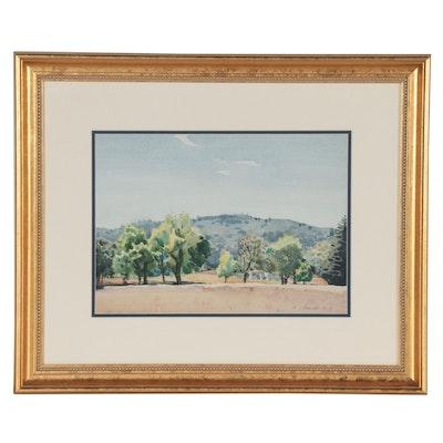 Edmond J. Fitzgerald Landscape Watercolor Painting