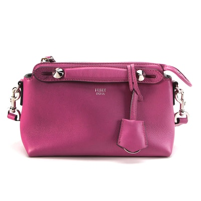 Fendi By The Way Mini Two-Way Crossbody in Fuchsia Textured Leather