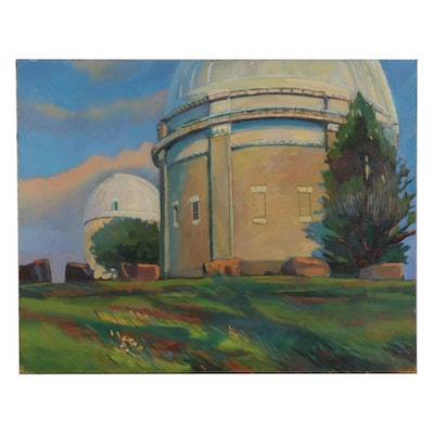 "William Pfahl Oil Painting ""Allegheny Observatory,"" circa 2003"