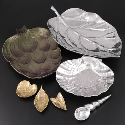 Michael Aram Platter and Mariposa Ice Cream Scoop with Other Aluminum Serveware