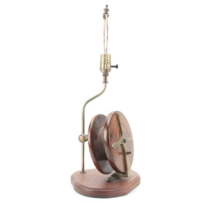 Wood and Brass Fishing Reel Table Lamp