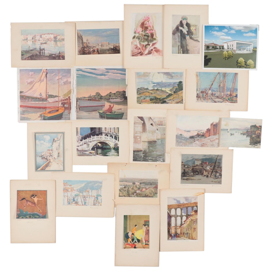 Offset Lithographs after Paintings Including Edmond J. Fitzgerald