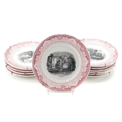 "French Digoin Sarreguemines ""Mois de L'année'"" Transferware Plates, Late 19th C."