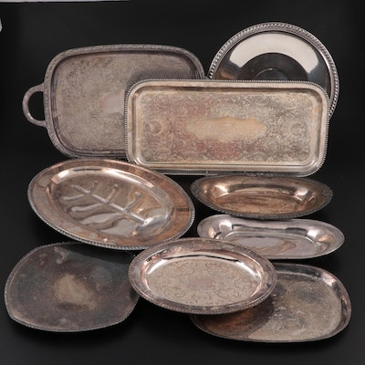 Middletown Silver Co. Silver Plate Meat Platter with Silver Plate Serveware