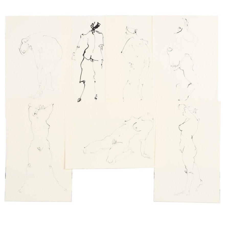 John Tuska Figural Ink Drawings, Mid to Late 20th Century
