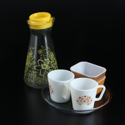 Pyrex Carafe, Mugs and Bowls with Anchor Hocking Fire-King Plate