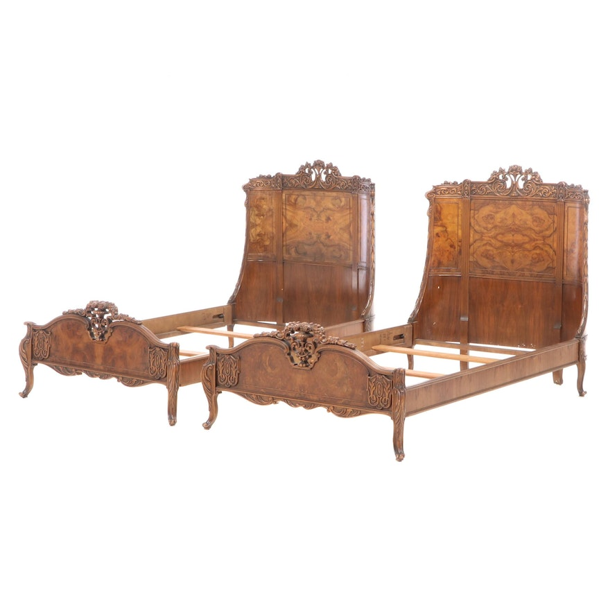 Pair of Saginaw Rococo Style Carved Walnut and Burl Walnut Twin Beds