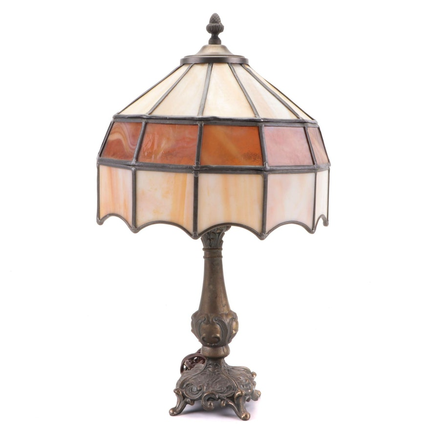 Victorian Style Brass Table Lamp with Slag and Stained Glass Shade, Mid-20th C