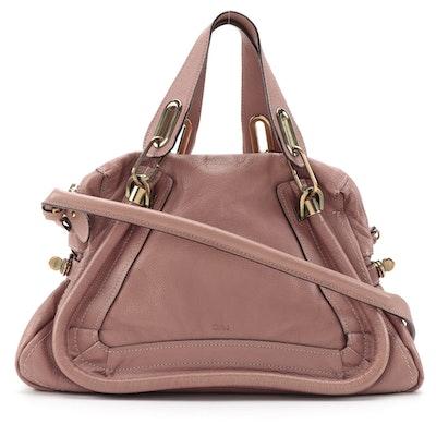 Chloé Medium Paraty Satchel Bag in Dark Blush Pink Pebbled Leather