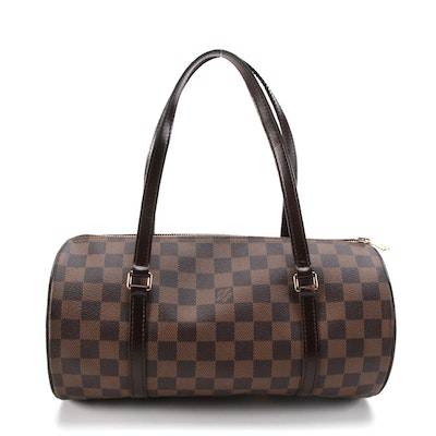 Louis Vuitton Papillon 30 Bag in Damier Ebene Canvas with Smooth Leather Trim