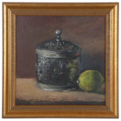 Natalia Demenko Still Life Oil Painting of Sugar Bowl and Lime, 21st Century