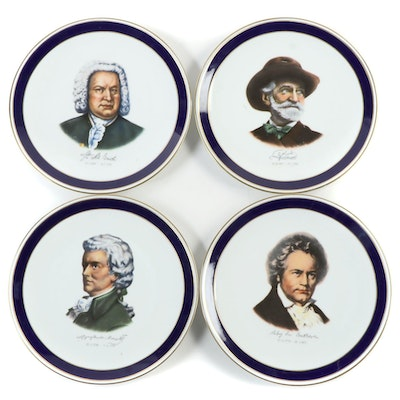 Bareuther & Co. Porcelain Plates with Classical Composer Portraits, 1960s