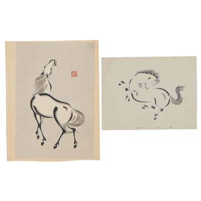Woodblock and Lithograph of Horses