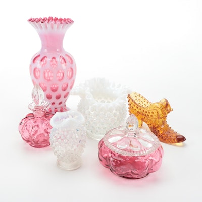 Hobnail and Coin Dot Glass Bud Vases and Décor