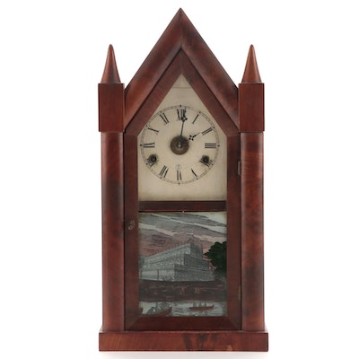 Pritchard & Holden Reverse Painted Cathedral Mantel Clock