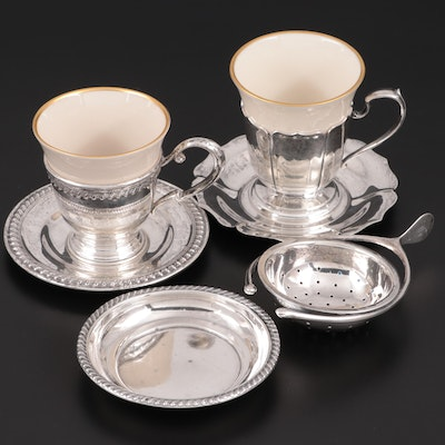 American Sterling Silver Tea Strainer and Zarfs with Porcelain Inserts