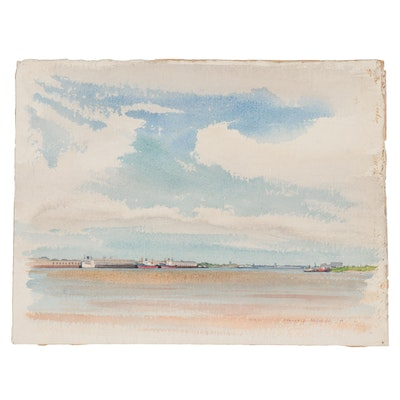 """Edmond J. Fitzgerald Watercolor Painting """"River Front, New Orleans,"""" 1950"""