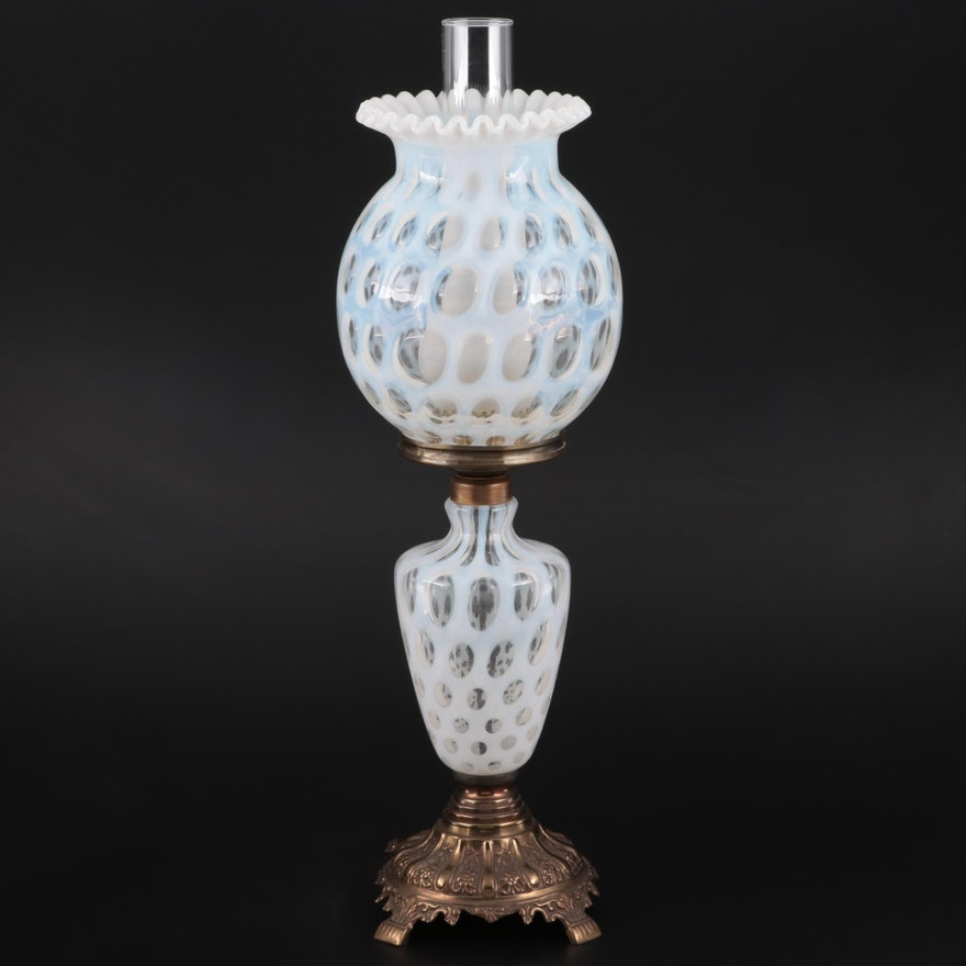 Opalescent Coin Dot Glass and Brass Table Lamp, Mid/Late 20th Century