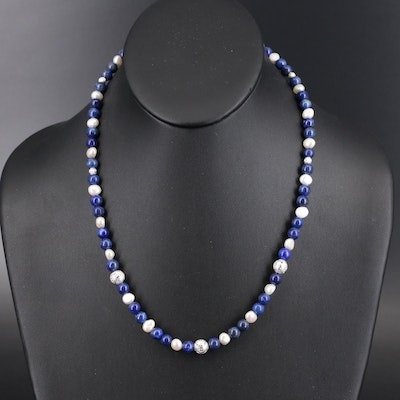 Lapis Lazuli and Pearl Beaded Necklace with Sterling Clasp