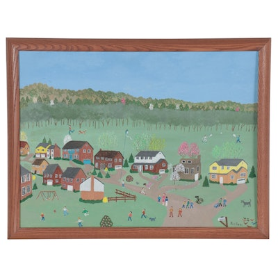 "Inez Hess Folk Art Acrylic Painting ""Spring in Hill Grove"""