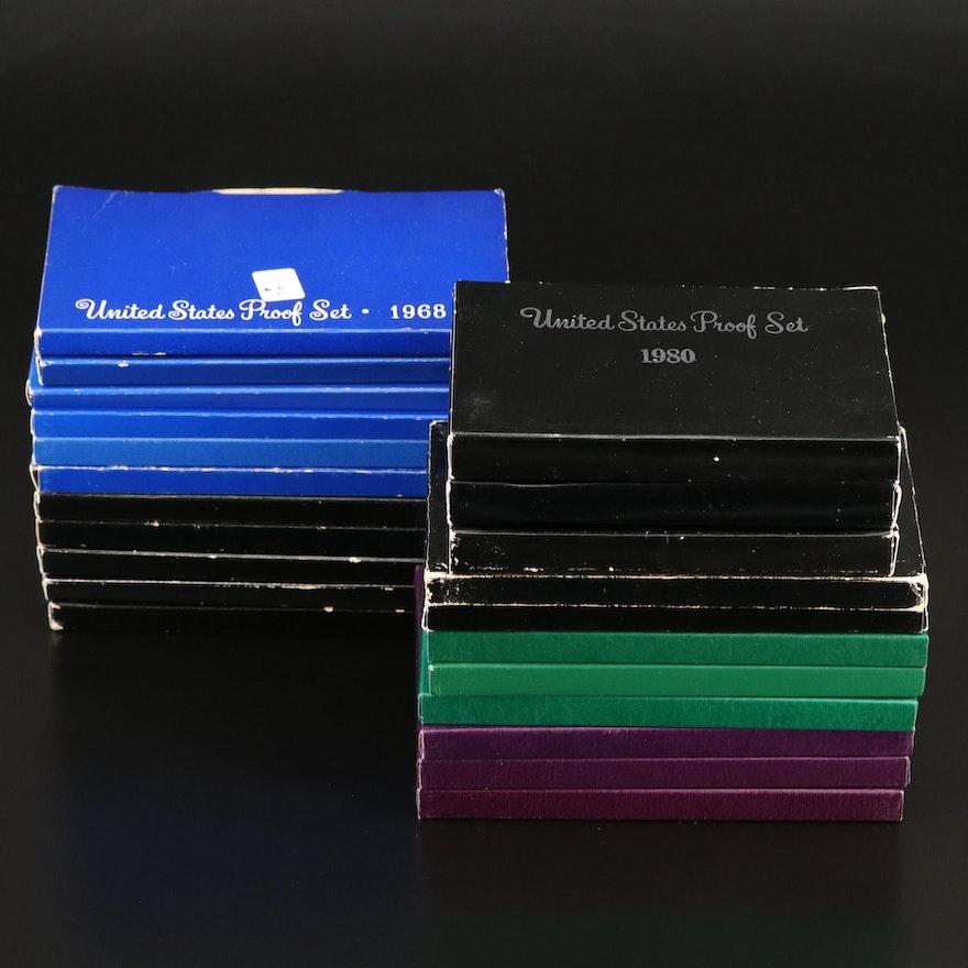 Twenty-Two U.S. Mint Proof Sets, 1968–1997