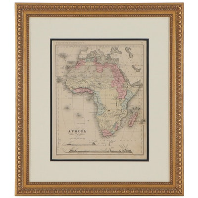 Francis McNally Hand-Colored Engraved Map of Africa, circa 1875