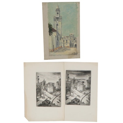 Oil Painting and Etchings of Street Views, Late 20th Century