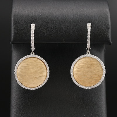14K Diamond Textured Disc Earrings
