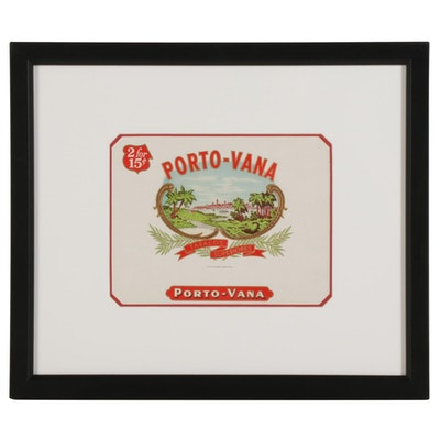 Framed Porto-Vana Cigar Label