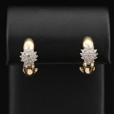 14K Diamond Cluster J-Hoop Earrings