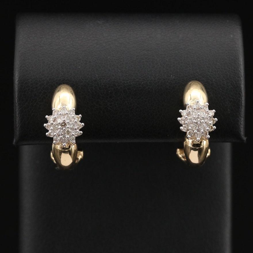 14K Diamond Cluster J-Hoop Earrings